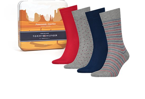 a80727d7941914 bol.com | Tommy Hilfiger Sokken Panoramic Giftbox 4-pack Heren - 39 ...