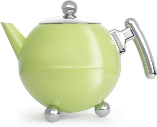 Bredemeijer Bella Ronde Theepot - 1,2 l - Spring green - chromium fittings