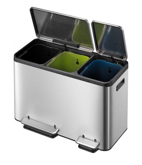 Eko Rejoice Pedaalemmer 3 X 12 Liter.Eko Ecocasa Recycle Prullenbak 3x 15 L Mat Rvs