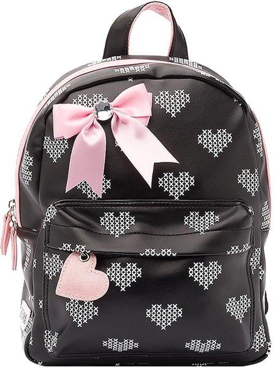 Zebra Trends Kinder Rugzak S Crossed Hearts Black/ Pink