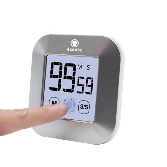 4cookz Kookwekker met touchscreen - zilver - exclusief batterijen