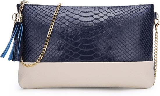 Lederen Crocodile Clutch | Krokodillenprint Denim Blue | 20,5 x 13,5 cm | Fashion Favorite