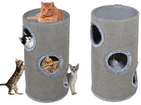 Krabton Krabpaal Ton - Katten Kitten Klimpaal Kattenhuis - Krabmeubel Grijs - 70CM