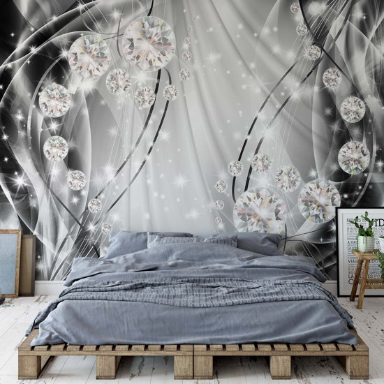 Fotobehang Luxury Ornamental Design Diamonds Silver | V4 - 254cm x 184cm | 130gr/m2 Vlies