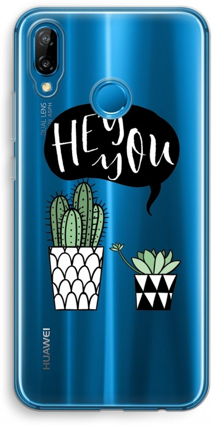 Huawei P20 Lite Transparant Hoesje (Soft) - Hey you cactus