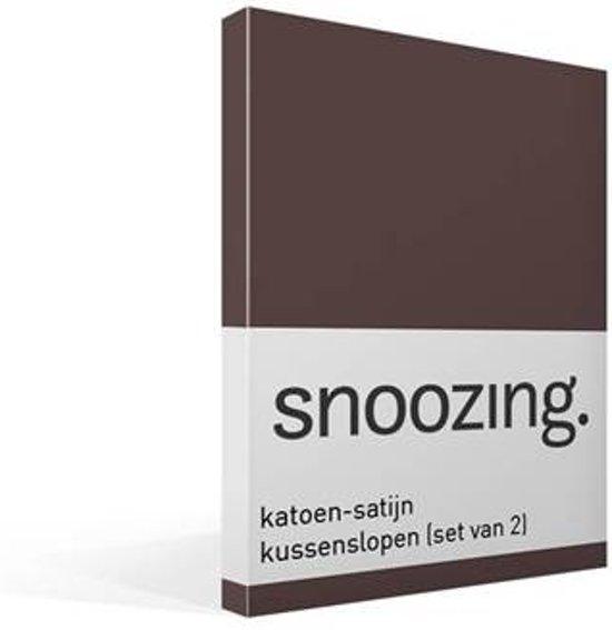 Snoozing - Katoen-satijn - Kussenslopen - Set van 2 - 50x70 cm - Bruin