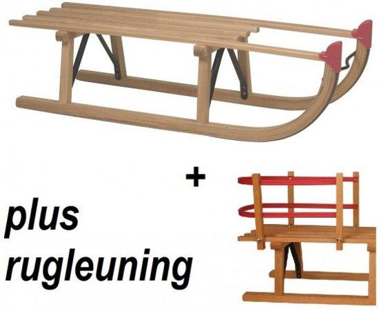 Slede Davos hout 100cm + rugleuning (houten slee)