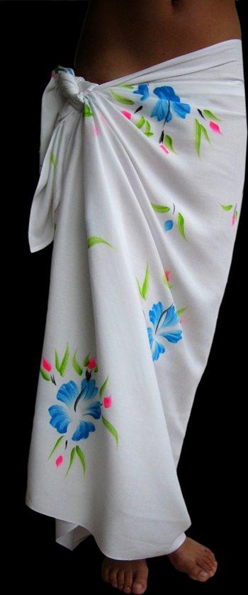 98922c740f1c70 Sarong Pareo StrandLaken Hamamdoek Handgeschilderde Bloemen Blauw 100%  Beste Kwaliteit Rayon Viscose Wikkeljurk Wikkelrok 115