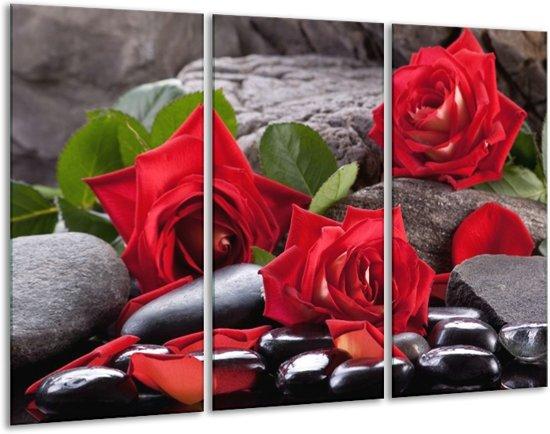 Glasschilderij Roos   Rood, Zwart, Groen   120x80cm 3Luik   Foto print op Glas    F006148