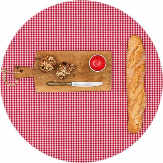 bol   mixmamas rond tafelkleed gecoat - Ø 140 cm - ruitje - rood