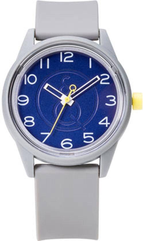 Q&Q Smile Solar 651003 horloge 50 meter 40 mm grijs/ blauw
