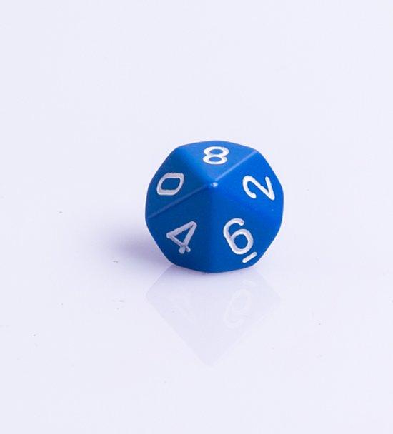 Afbeelding van het spel 10 Vlakken Tienzijdige Dobbelsteen Blauw met wit 16mm Set van 6 Stuks