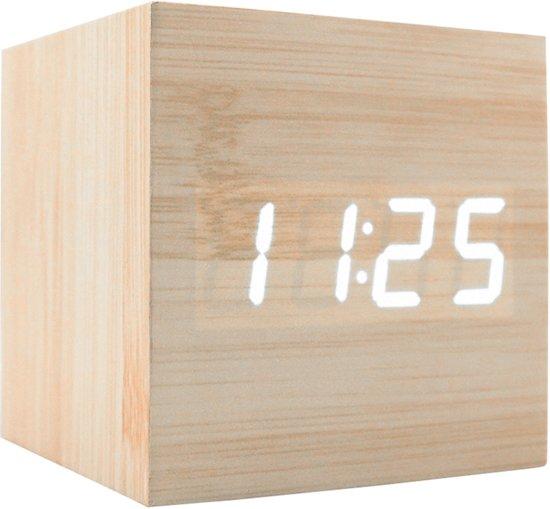 Houtlook Wekker - Cube - Meerdere Alarmen - Met Datum & Temperatuurweergave - Sound Control - Dimbaar licht - Draadloos of met Adapter