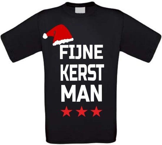 Fijne kerstman T-shirt maat 110/116 zwart