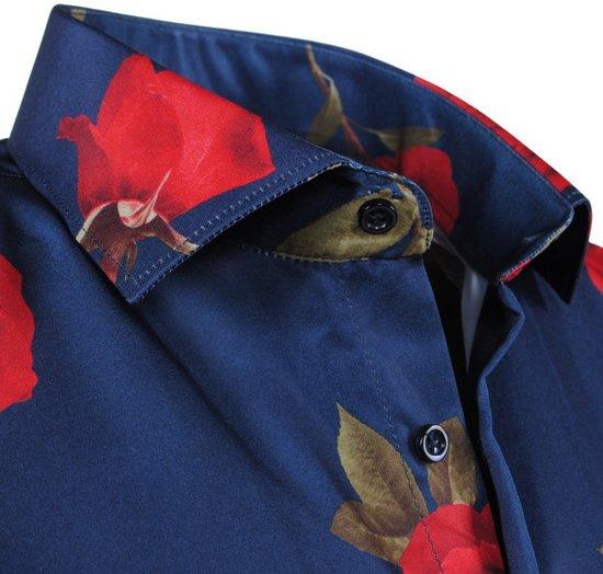 Overhemd Navy Fit Heren Pradz Rozen Slim qxOXa5