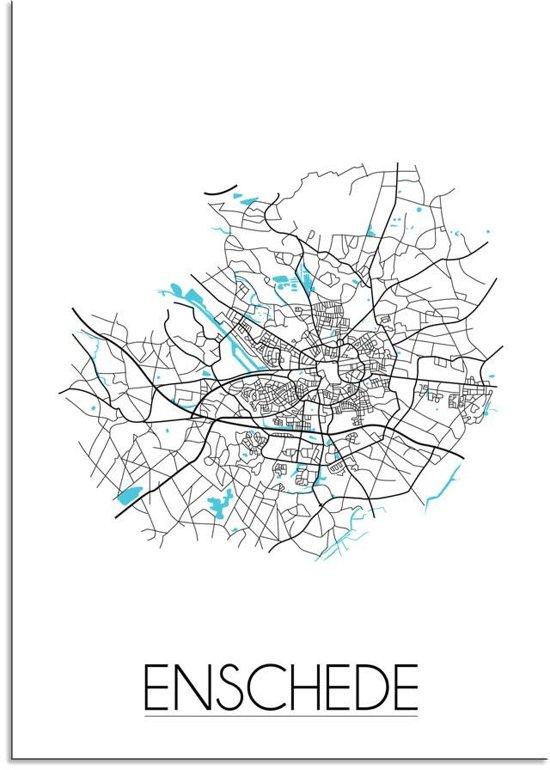 Plattegrond Enschede Stadskaart poster DesignClaud - Wit - A4 + fotolijst zwart