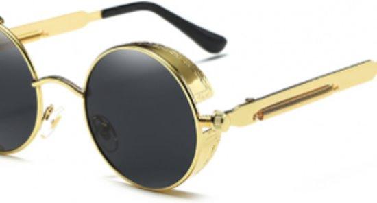 12005d434b2f71 Zwart gouden ronde zonnebril