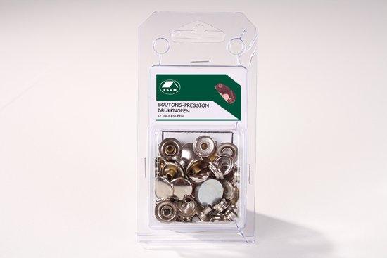 Set ESVO drukknopen 15 mm. 12 stuks.