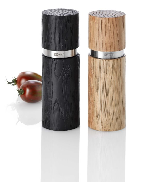 Adhoc Peper of Zoutmolen Textura - Donker en Licht Hout - Set van 2 Stuks Valentinaa