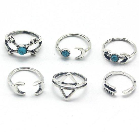Lovelymusthaves Hippe boho bohemian style Ring - Dames -ringenset zon maan pijl zilverkleurig