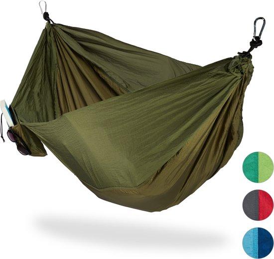 Hangmat Standaard 200 Kg.Relaxdays Hangmat Outdoor Xxl Hang Mat 2 Personen Extreem Licht Camping Tot 200 Kg Donkergroen