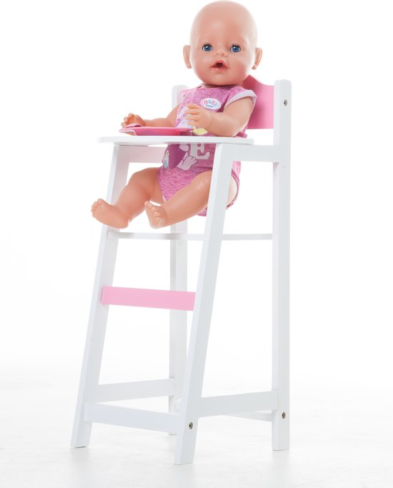 Poppen Kinderstoeltje Hout Wit met Roze -HARTJE afm. 26,5 x 21,5 x 53cm