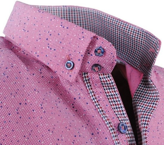 FerlucciHeren Roze Gestippeld Slim Puglia Fit Overhemd SMpVGqUz