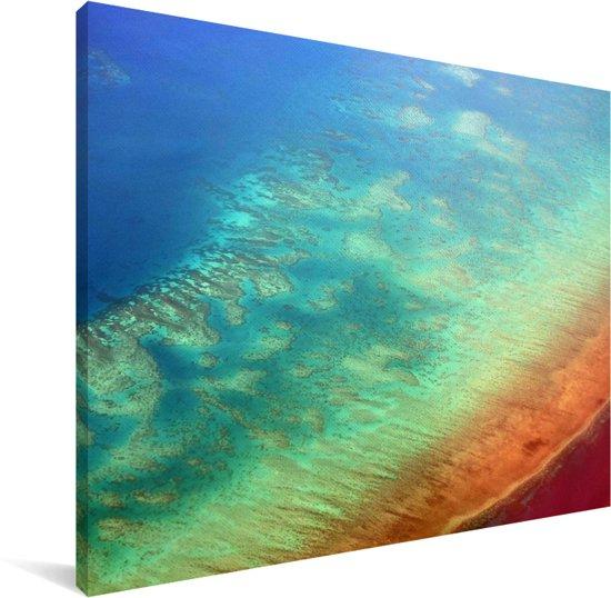 Groot Barrièrerif kust van Cairns Canvas 80x60 cm - Foto print op Canvas schilderij (Wanddecoratie woonkamer / slaapkamer)