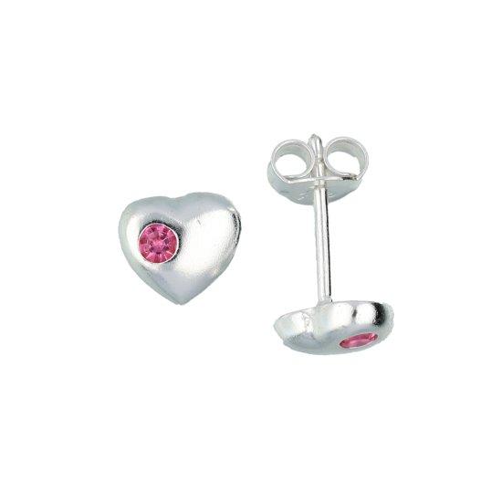 Lilly kinderoorknopjes - hart - zilver - roze kristal