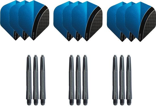 Dragon darts - Dartset - 3 sets dart flights en 3 sets nylon darts shafts - 18 pcs - blauw - darts flights