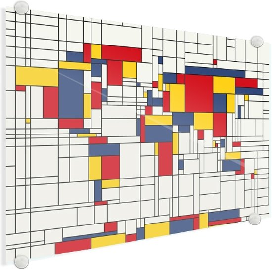 Wereldkaart mondriaan-origineel plexiglas klein 40x30 cm