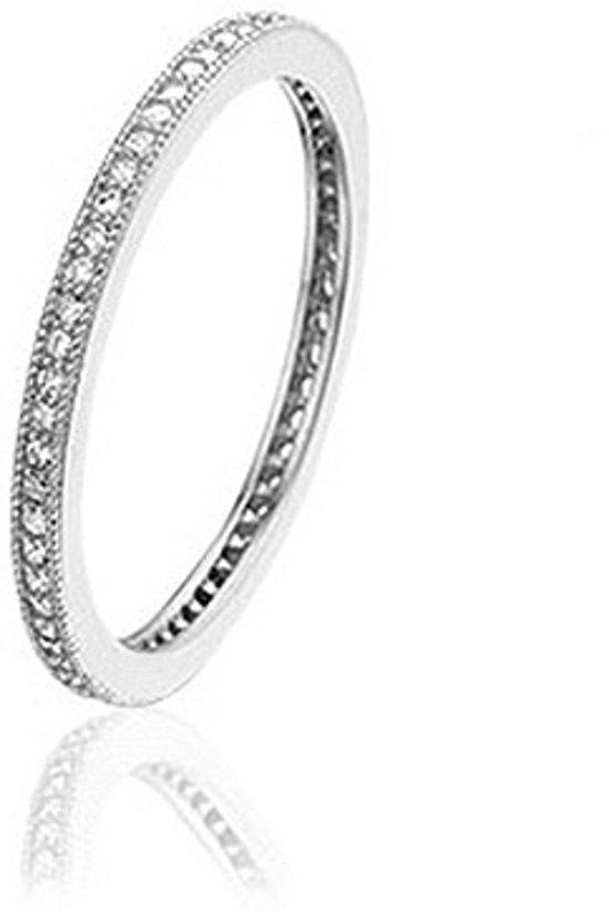 Montebello Ring Bollea - Dames - Zilver Gerhodineerd - Zirkonia - Trouw - Maat 58 - 18.5