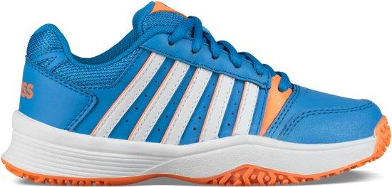 K-Swiss Court Smash Omni Junior Sportschoenen - Maat 38 - Unisex - blauw/oranje/wit