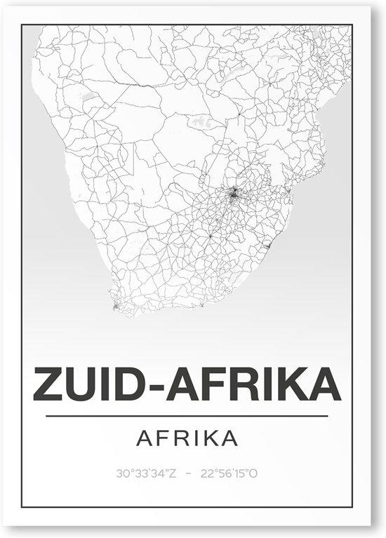 Poster/plattegrond ZUID-AFRIKA - A4