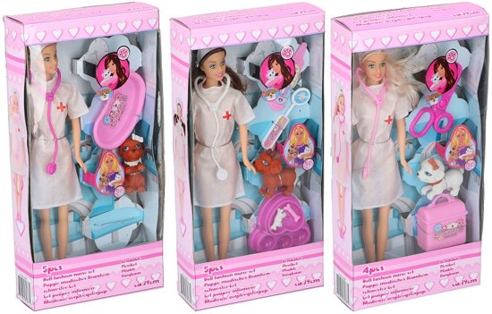 Pop Verpleegster 29 cm 3 assorti