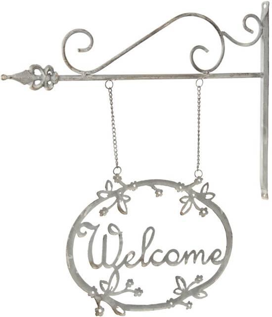 Clayre & Eef Metalen Uithangbord welkom 41 x 47 cm grijs - 6Y1369G