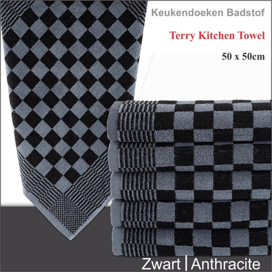 Homéé   Keukendoek 100% Katoenen badstof antraciet/zwart - 6 stuks - 50x50cm