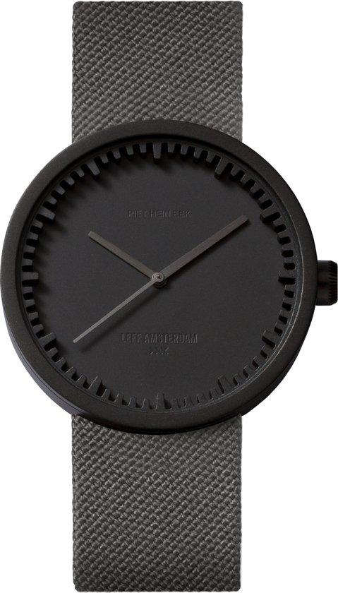 LEFF amsterdam tube watch D38 black / grey nylon-leather strap