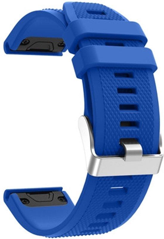 Siliconen Horloge Band Voor Garmin Fenix 5 (Plus) Sapphire / Forerunner 935/945 - Armband Polsband / Strap / Sportband - 22MM Quickfit - Small/Large - Blauw