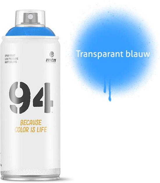 MTN94 Transparant blauwe spuitbus - 400ml lage druk en matte afwerking spuitverf - Graffiti verf voor vele doeleinden zoals voor diy, klussen, graffiti, hobby en kunst