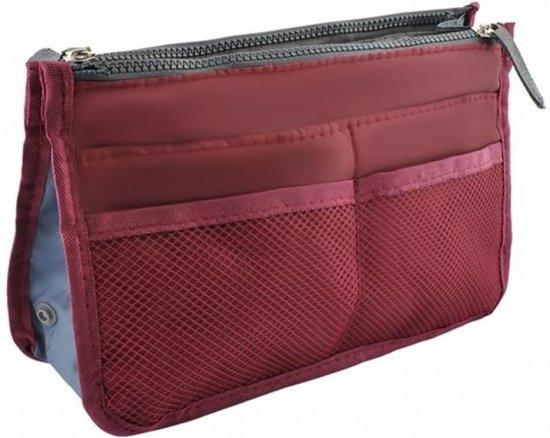 fa74801fd0c Tas Organizer – Bag in Bag - Toilettas - Bordeaux Rood - 11 vakken -  Afmeting