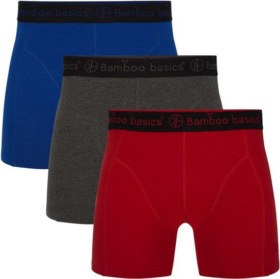 930ad4d9111 Bamboo Basics Heren Bamboe Boxershort Rico - 3-pack – Blauw/Grijs/Rood – M