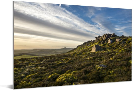 Steile hellingen van de rotsen in het Nationaal park Peak District Aluminium 30x20 cm - klein - Foto print op Aluminium (metaal wanddecoratie)