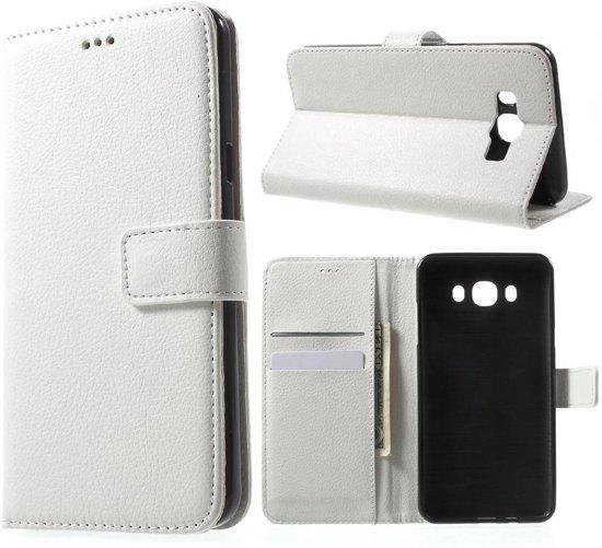 GSMWise - Samsung Galaxy J7 (2016) Lychee Textuur Lederen Portemonnee Hoesje met Kaarthouder - Wit in Acoz
