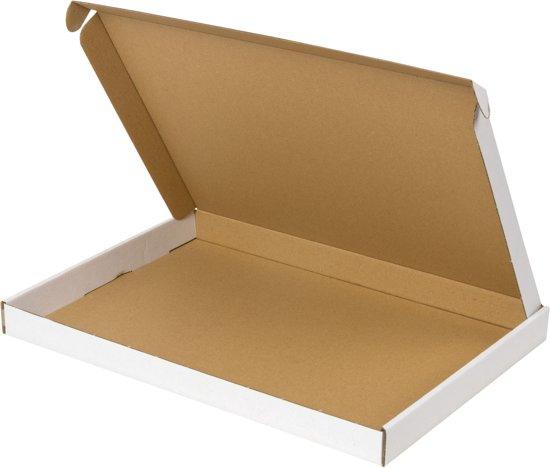Brievenbusdoos A4 brievenbusdozen A4+ 50 stuks met bovenklep wit 350 x 250 x 28 mm doosjes brievenbus verzenddoosjes