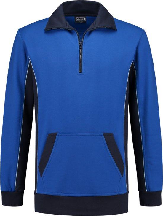 Workman Zipper Sweater Bi-Colour - 2704 royal blue/navy - Maat L
