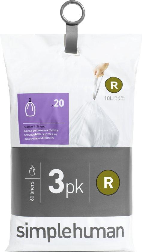 Simplehuman Afvalzak Code R Pocket Liners 10 Liter (60 stuks)