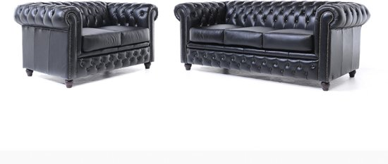 Zwart Leren Chesterfield Bank.The Original Chesterfield Brighton 2 En 3 Zitsbank Zetel Salon Zwart