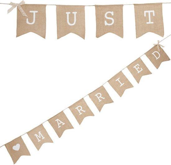 Ginger Ray Vintage Affair - 'Just Married' huwelijk slinger - Jute - 2,50 meter Valentinaa