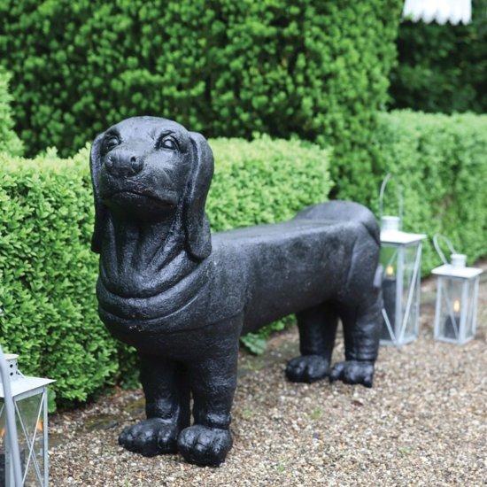 Esschert Design Tuinbank teckel steen zwart AV12